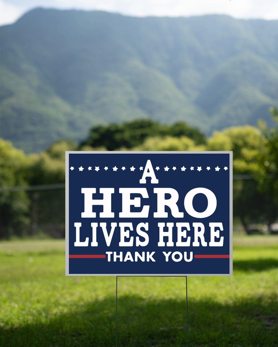 A hero lives here thank you nurse doctor yard sign 2 sided