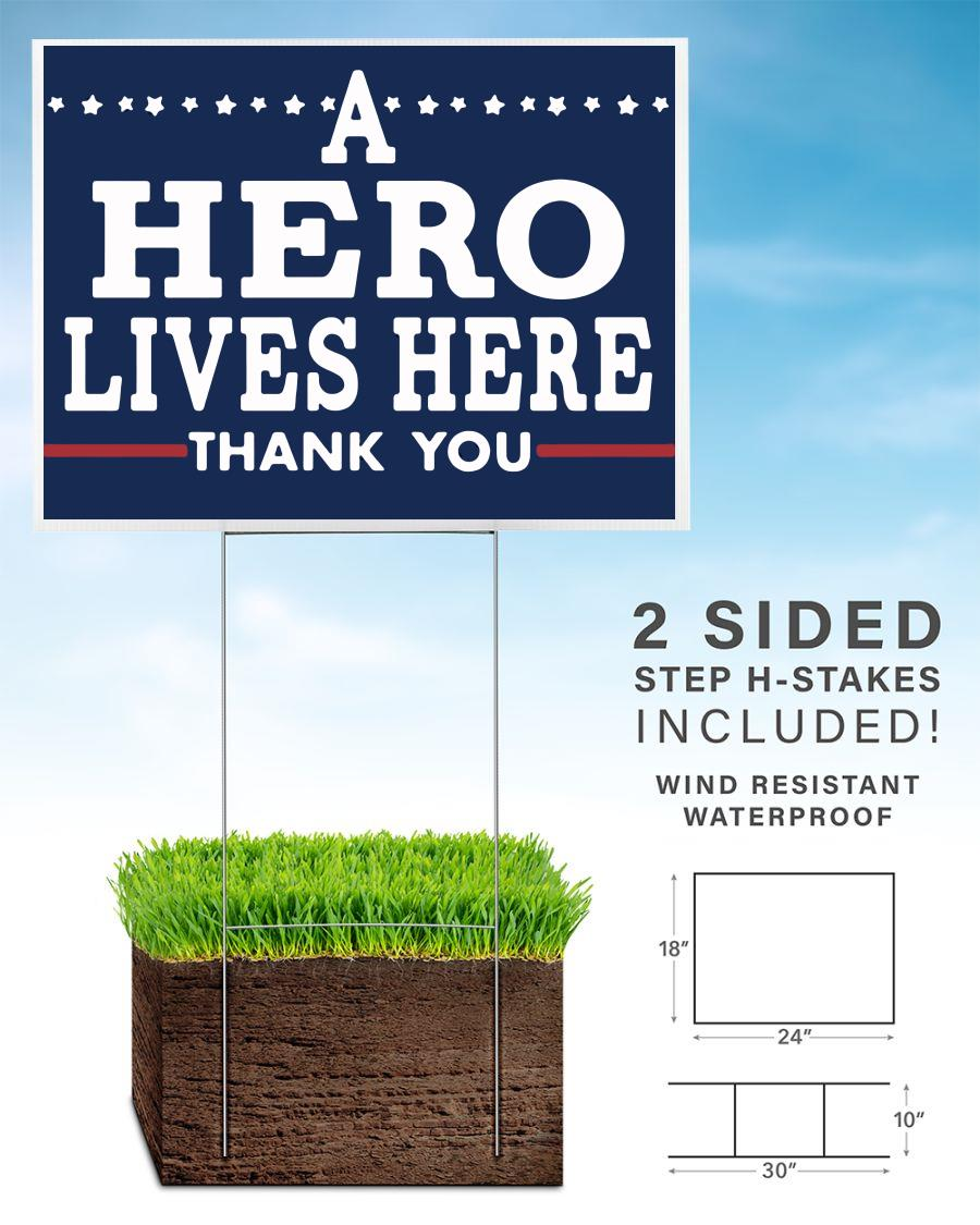 A hero lives here thank you nurse doctor yard sign