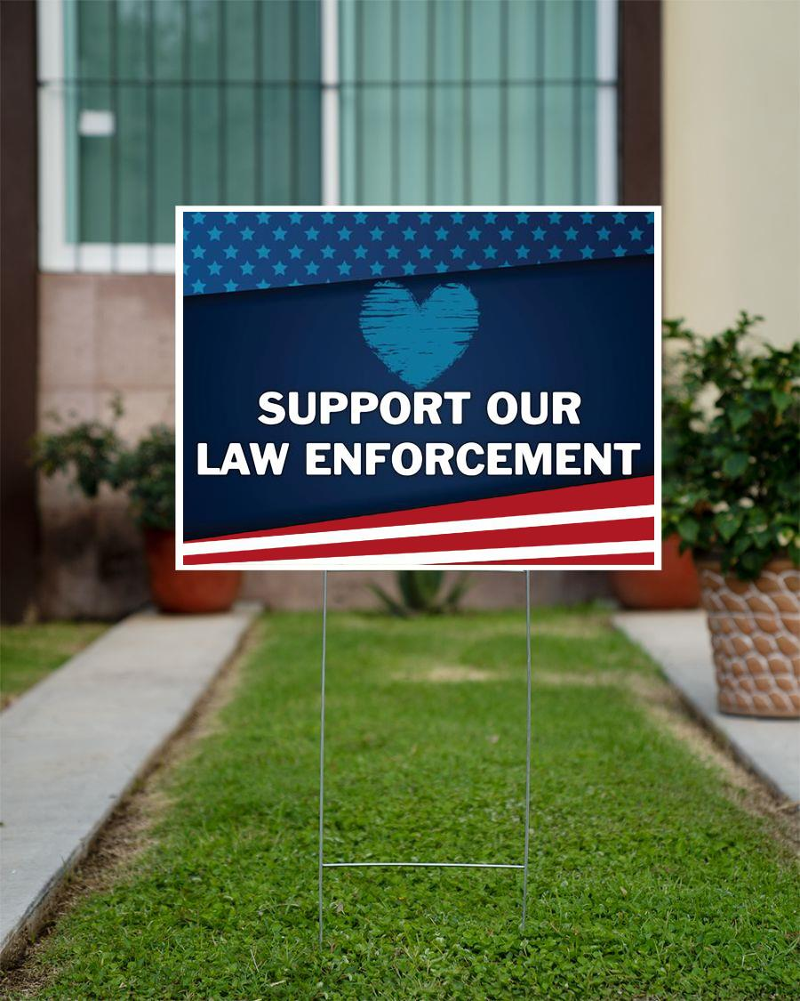 American flag support our law enforcement yard sign