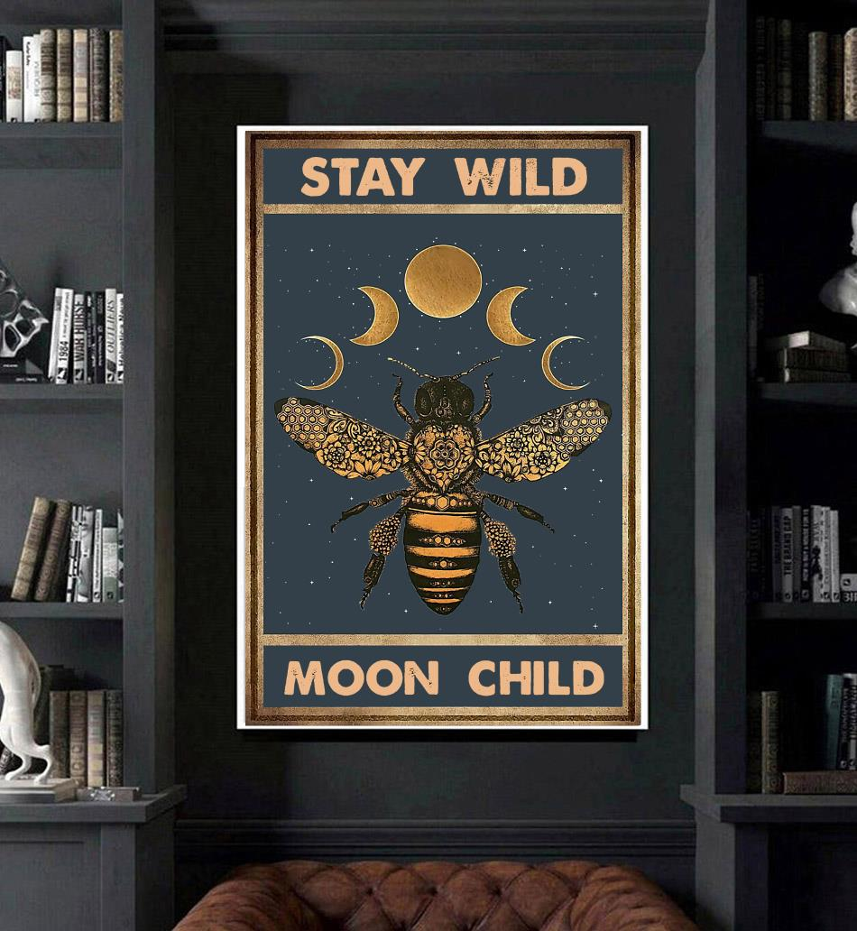Bee moon phase stay wild moon child canvas art