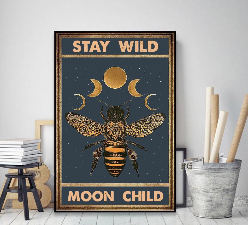 Bee moon phase stay wild moon child canvas decor art