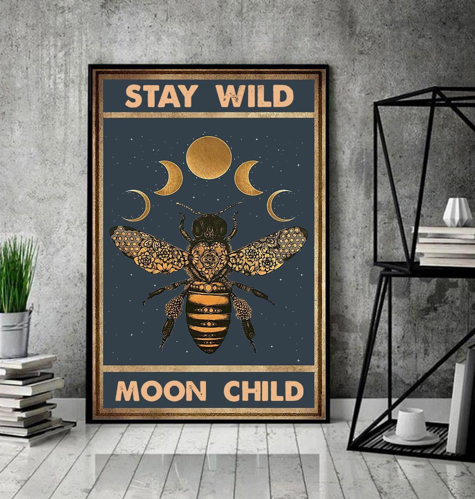Bee moon phase stay wild moon child canvas decor