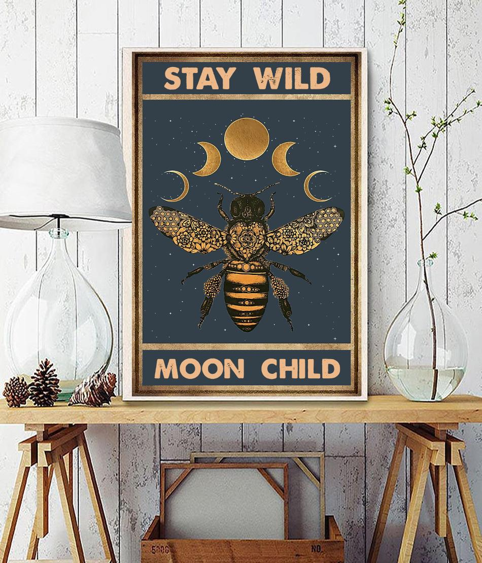 Bee moon phase stay wild moon child canvas