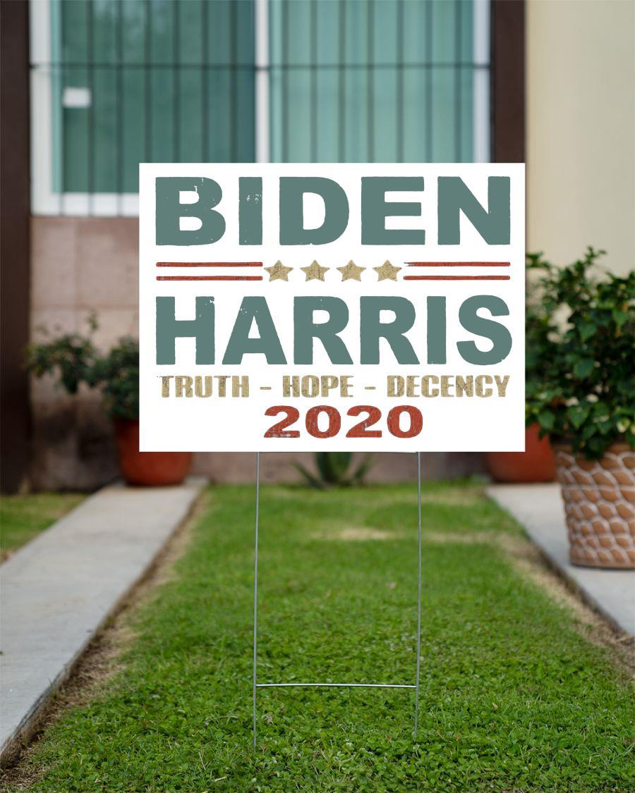 Biden Harris truth hope decency 2020 yard side