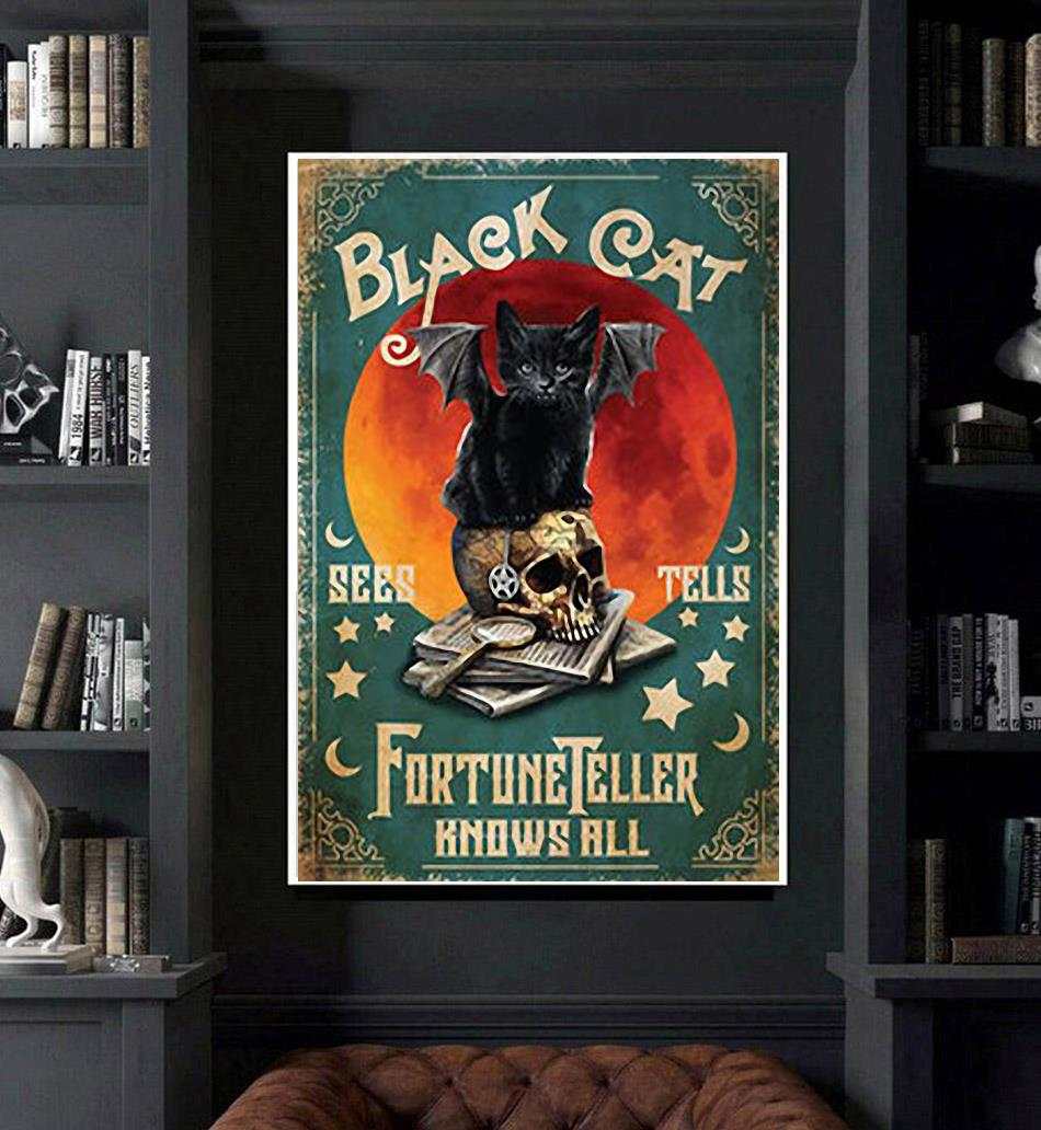 Black cat fortune teller know all poster art