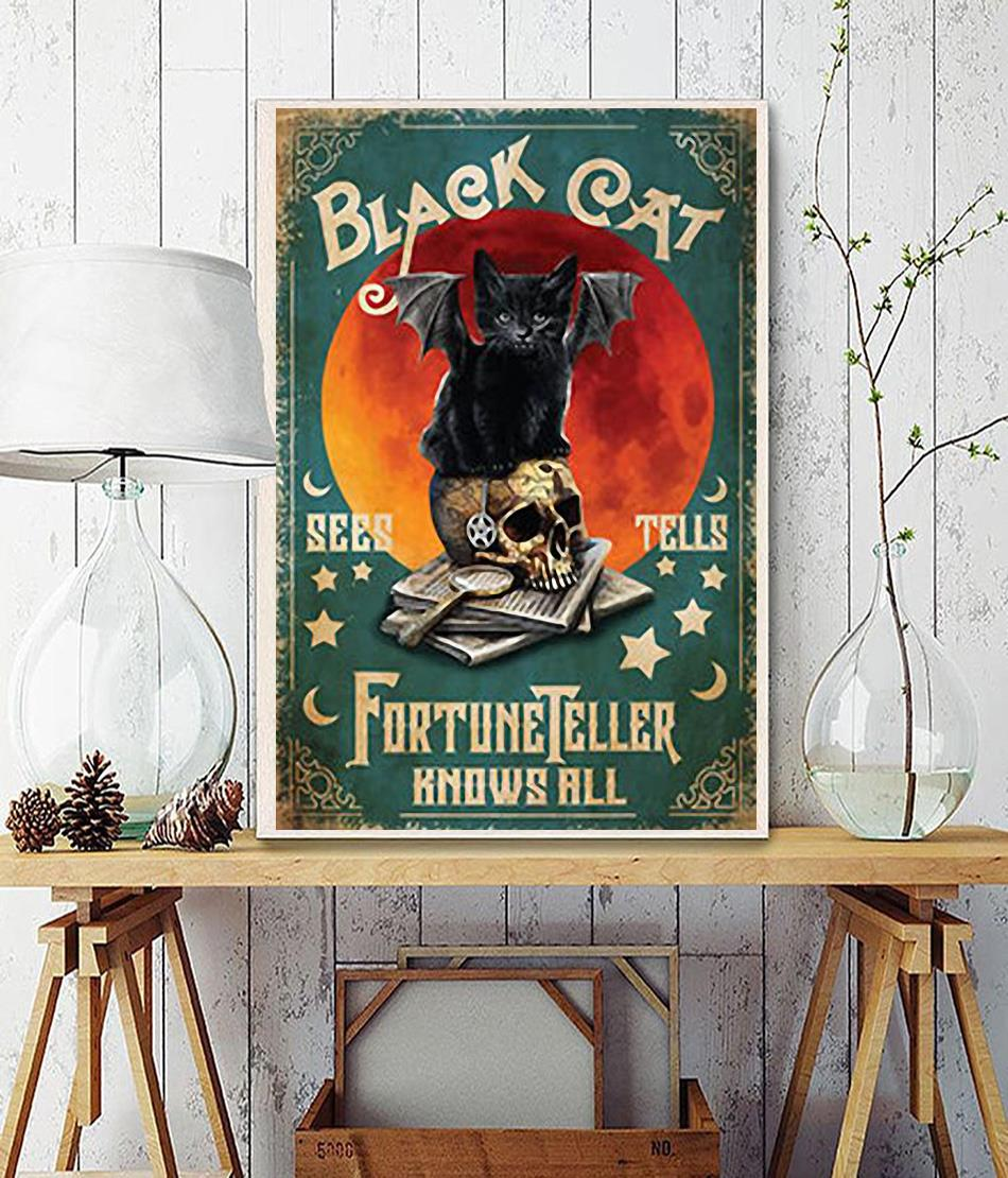 Black cat fortune teller know all poster
