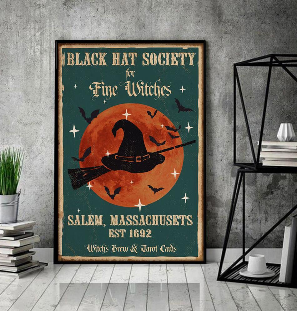 Black hat society for fine witches salem massachusets est 1692 poster decor