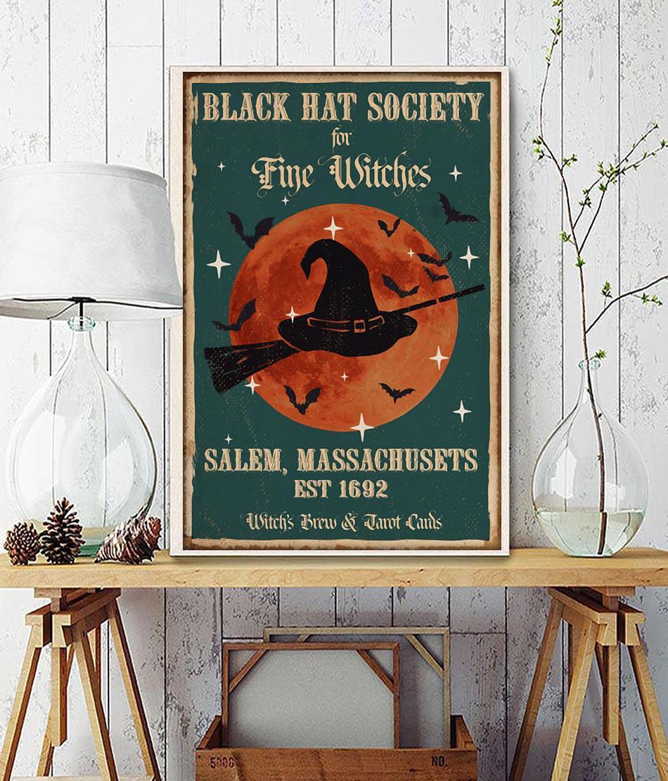 Black hat society for fine witches salem massachusets est 1692 poster
