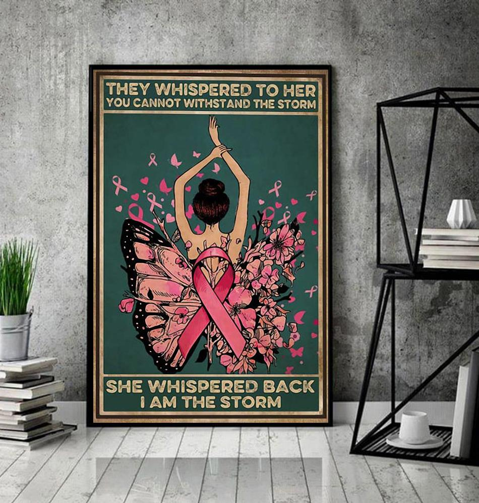 Breast cancer they whispered to her you cannot withstand the storm canvas decor