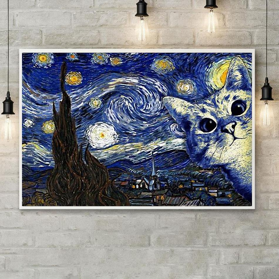 Cat the Starry Night poster canvas poster