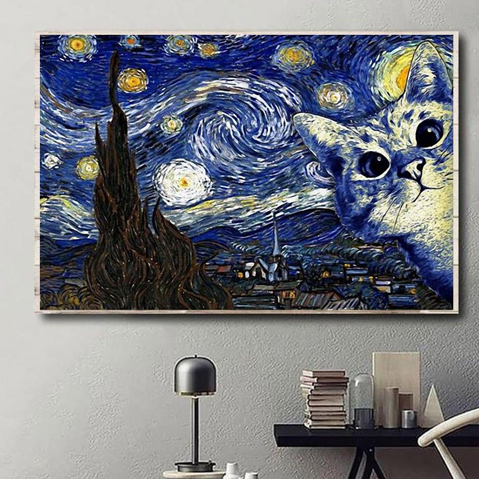 Cat the Starry Night poster canvas