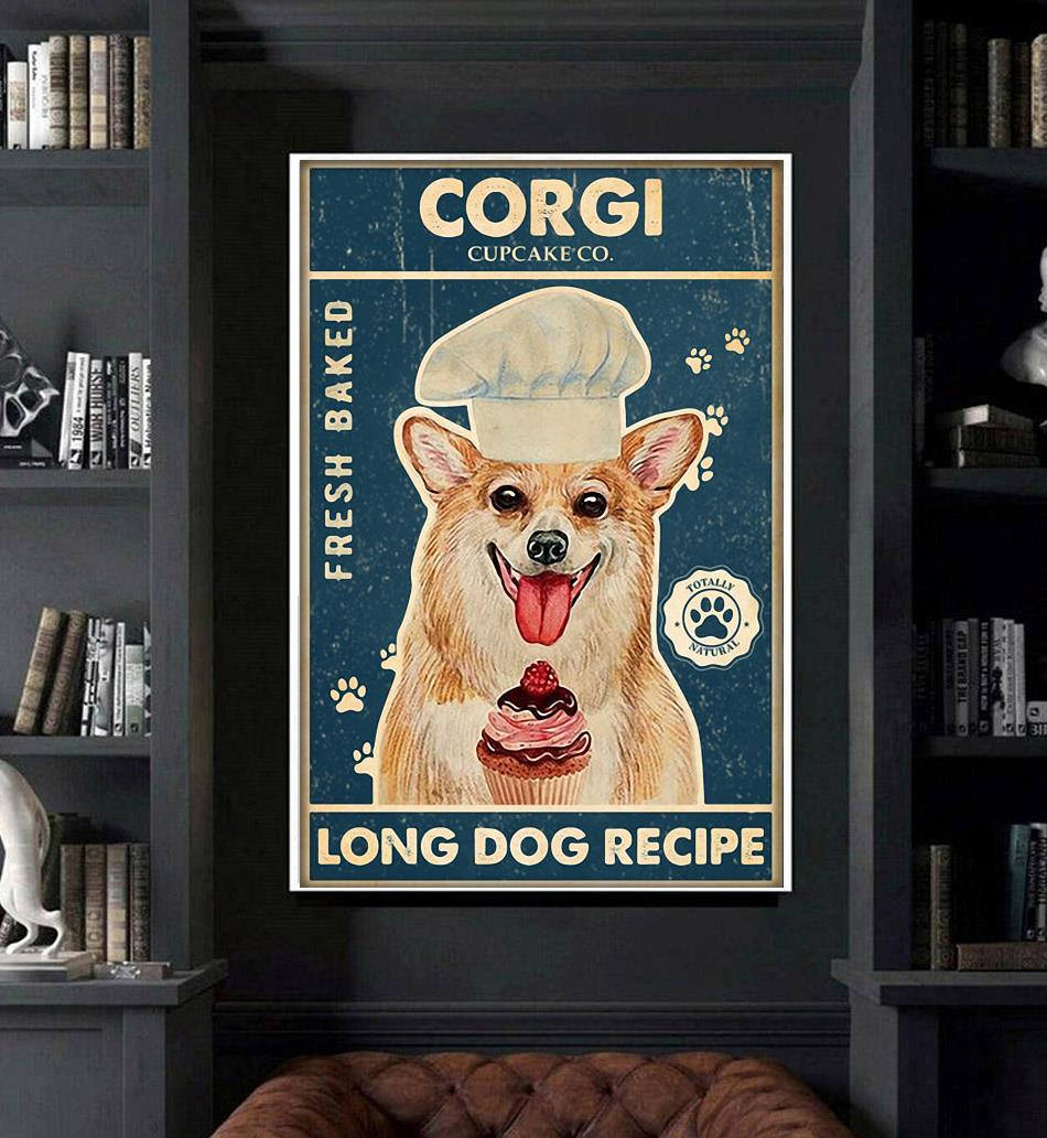 Corgi baker cupcake long dog recipe poster art