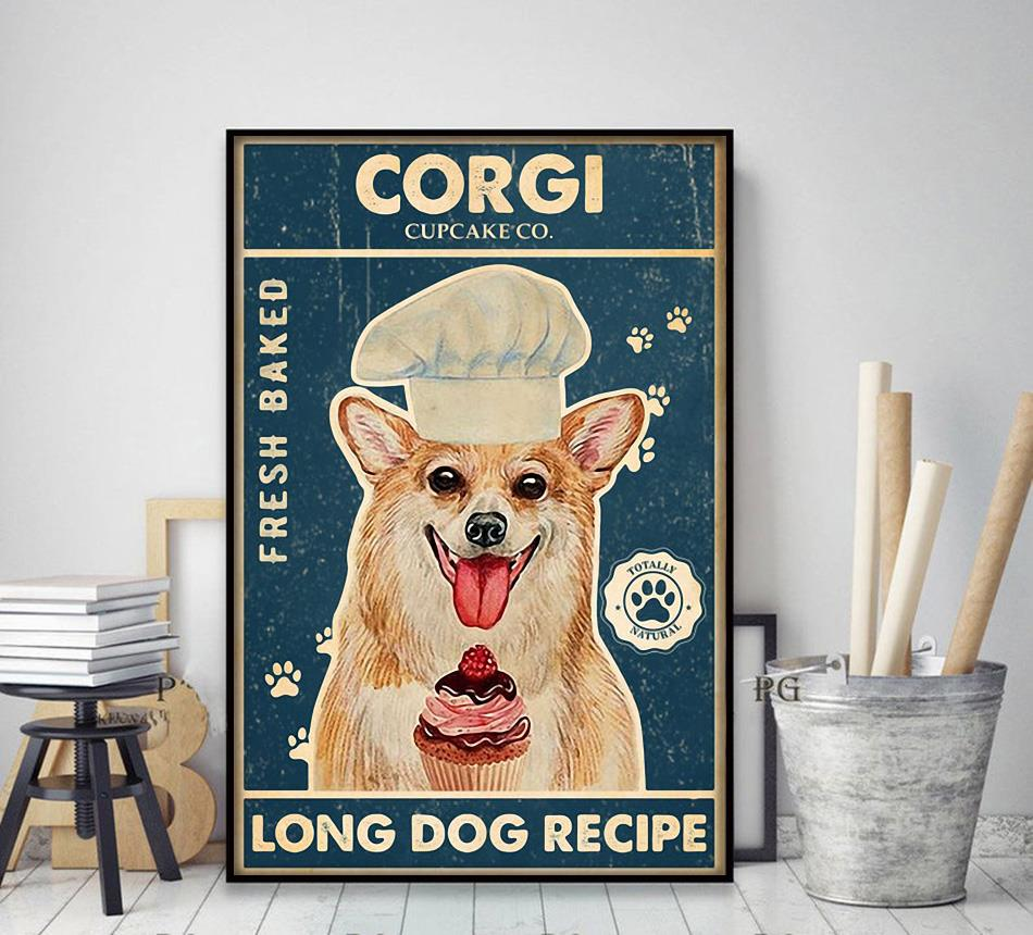 Corgi baker cupcake long dog recipe poster decor art