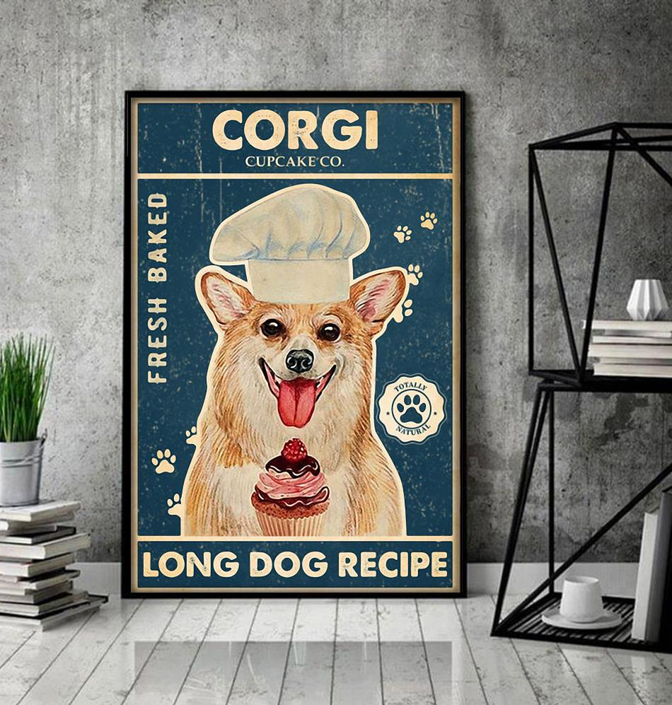 Corgi baker cupcake long dog recipe poster decor