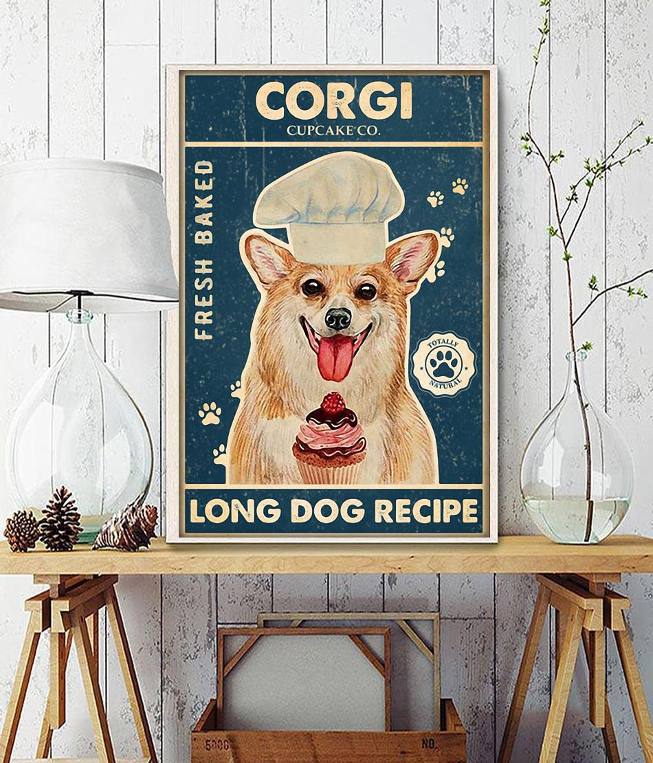 Corgi baker cupcake long dog recipe poster