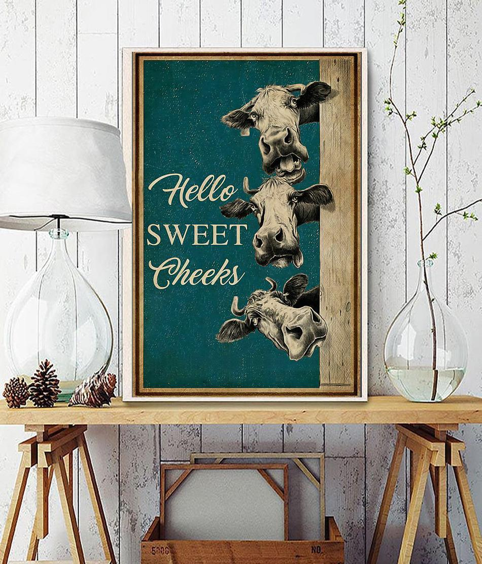 Cow hello sweet cheeks poster canvas
