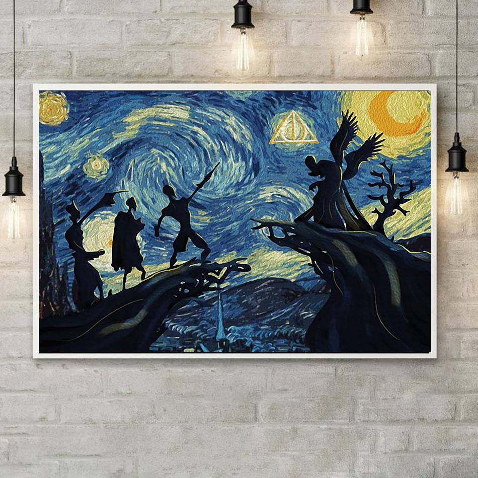 Deathly Hallows Starry Night Harry Potter canvas poster