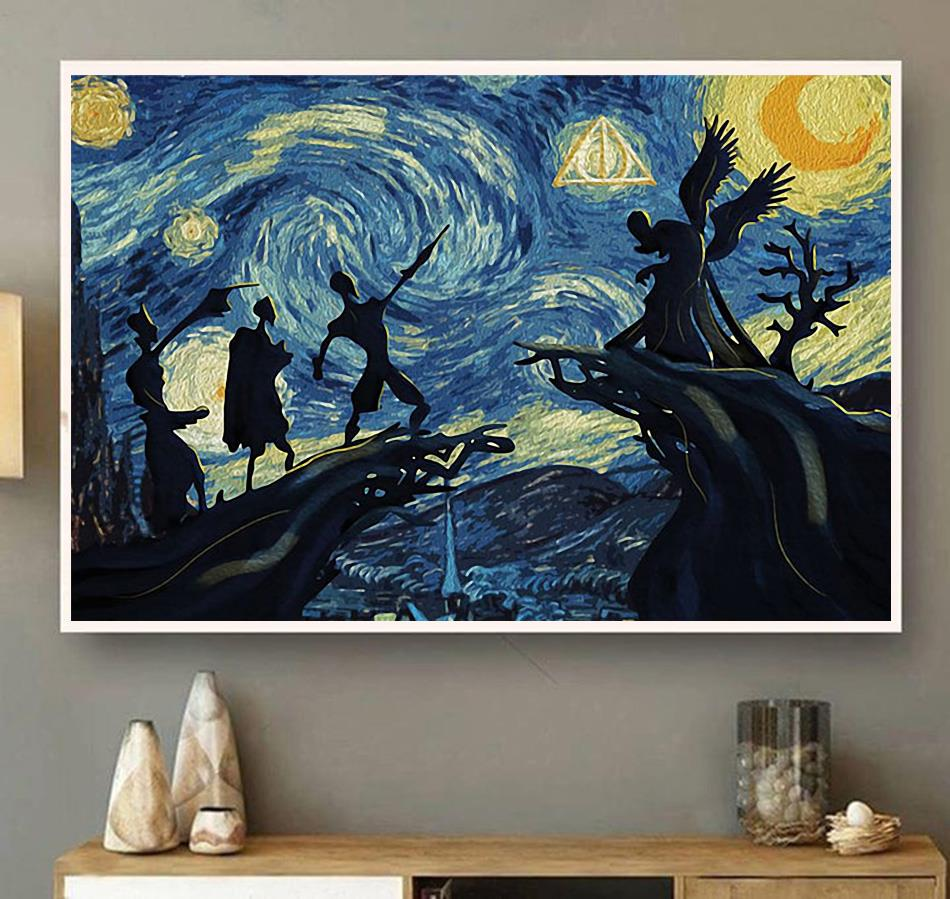 Deathly Hallows Starry Night Harry Potter canvas wall art