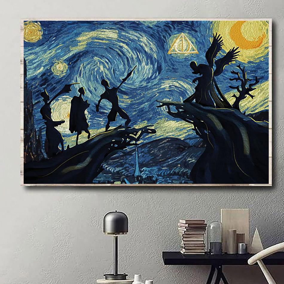 Deathly Hallows Starry Night Harry Potter canvas