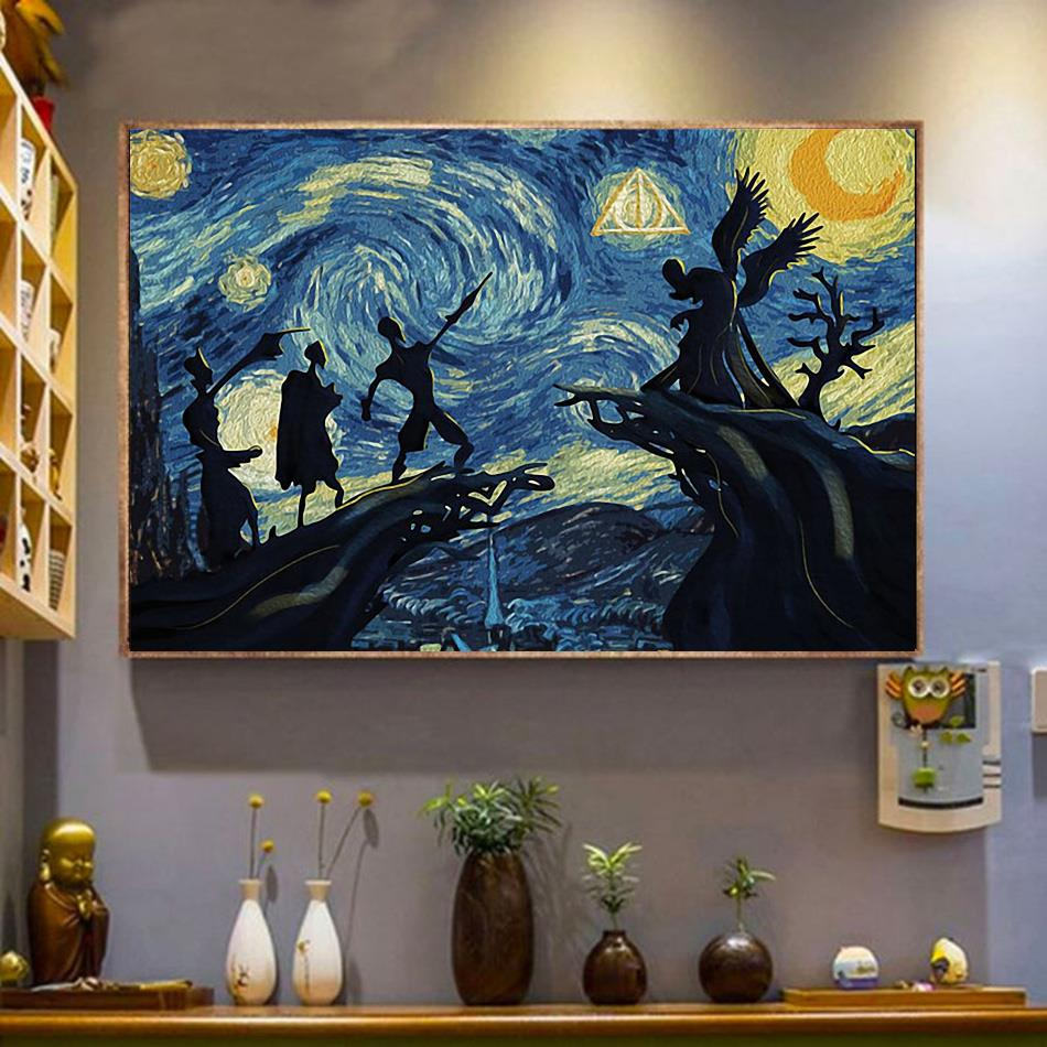 Deathly Hallows Starry Night Harry Potter canvas wrapped canvas