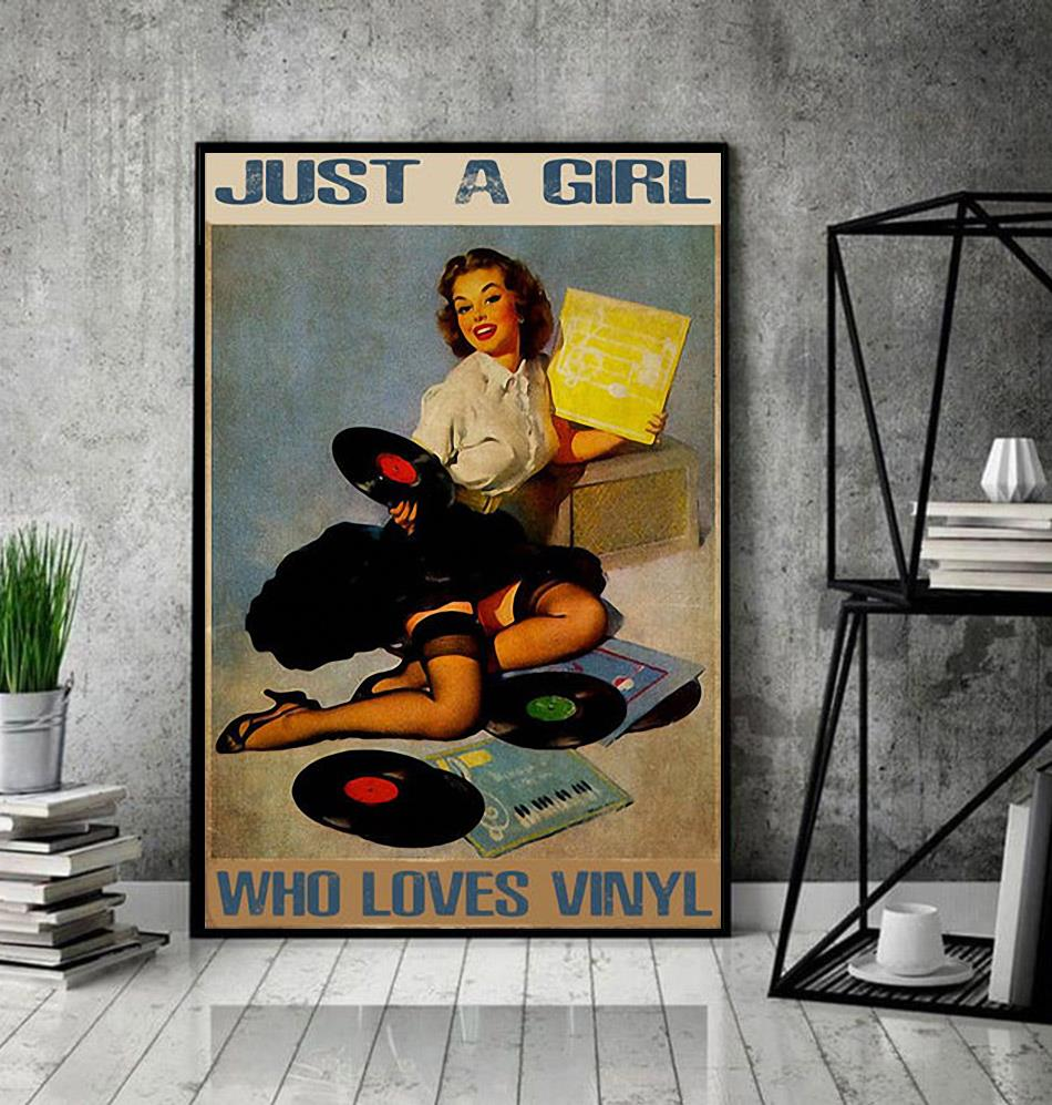 DJ Just A Girl Who Loves Vinyl Poster decor