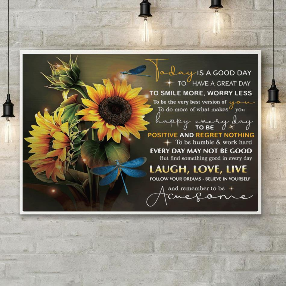 Dragonfly today is a good day wrapped canvas poster