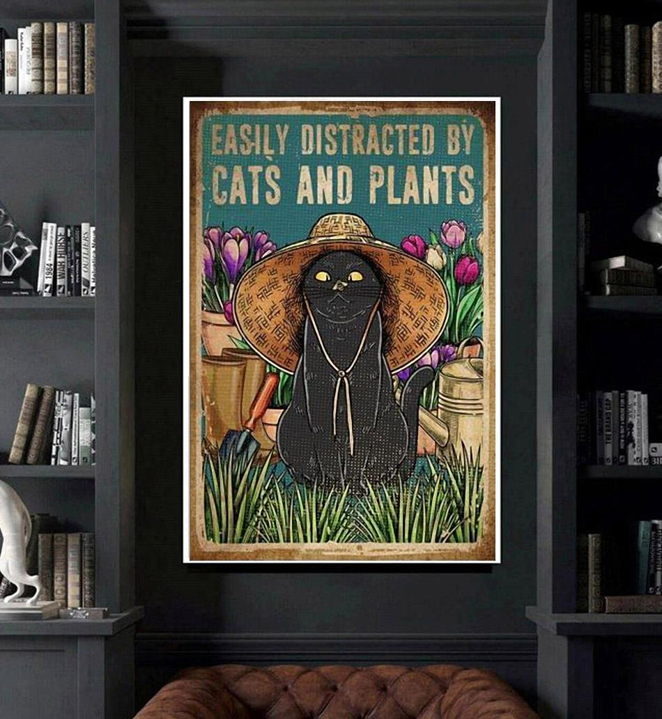 Easily distracted by cats and plants poster canvas art