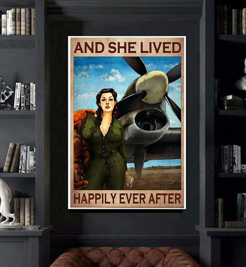 Flight Attendant and she lived happily ever after poster canvas art