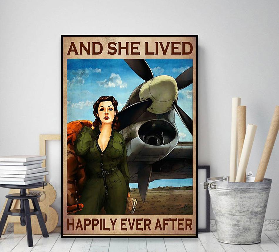 Flight Attendant and she lived happily ever after poster canvas