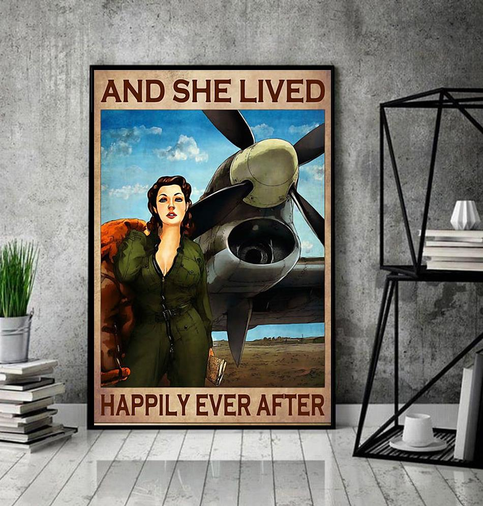 Flight Attendant and she lived happily ever after poster canvas decor