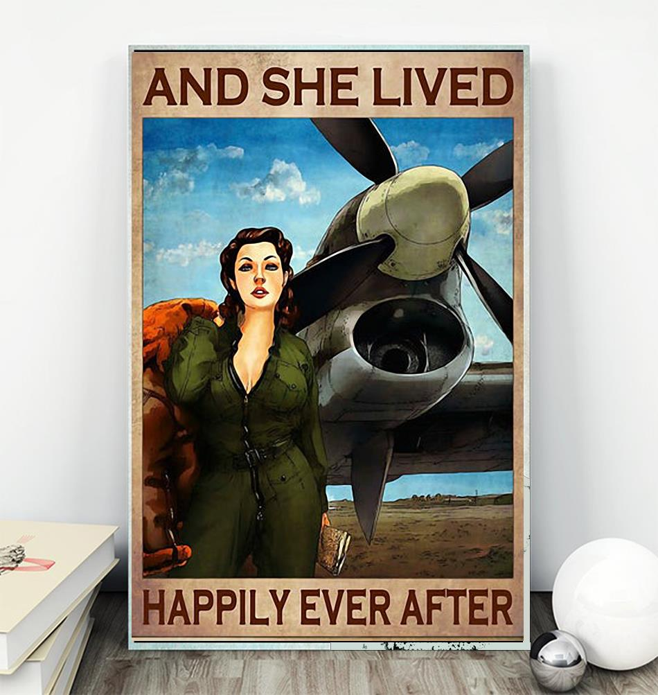 Flight Attendant and she lived happily ever after poster canvas wall