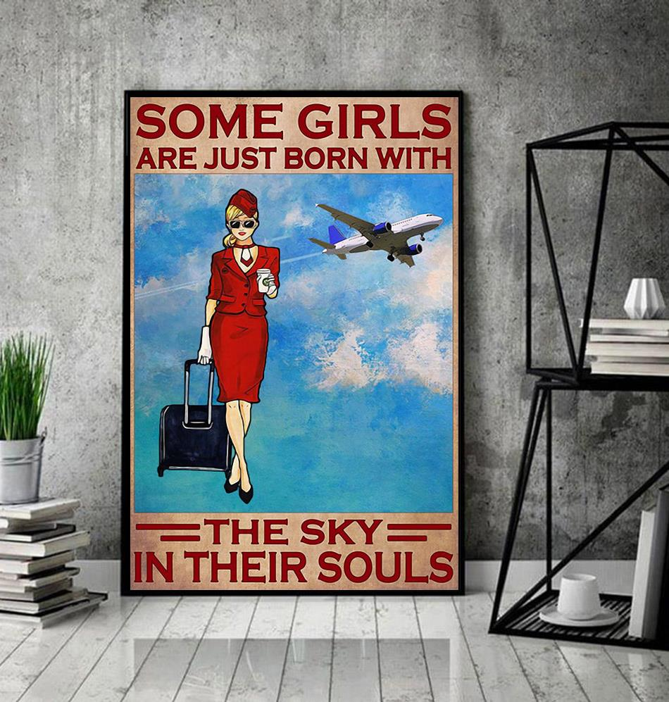 Flight attendant some girls are just born with the sky in their souls canvas decor