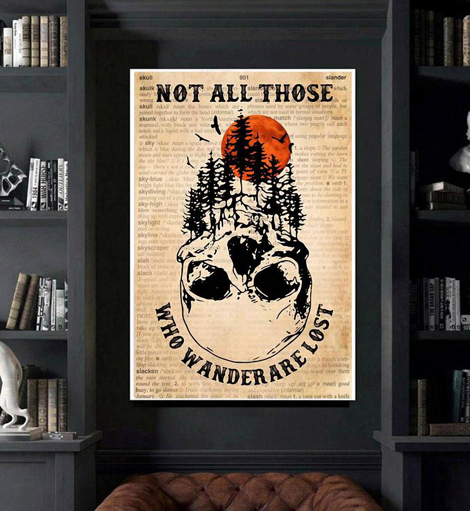 Forest skull poster not all who wander are lost poster art