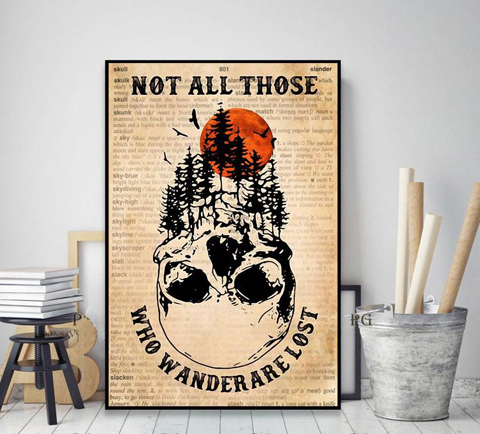 Forest skull poster not all who wander are lost poster