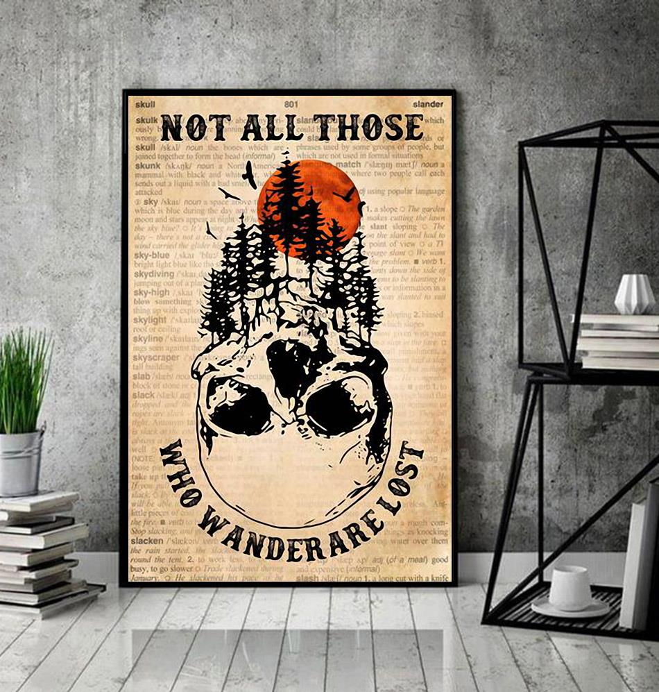 Forest skull poster not all who wander are lost poster decor