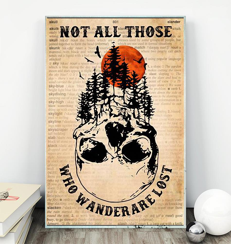 Forest skull poster not all who wander are lost poster wall