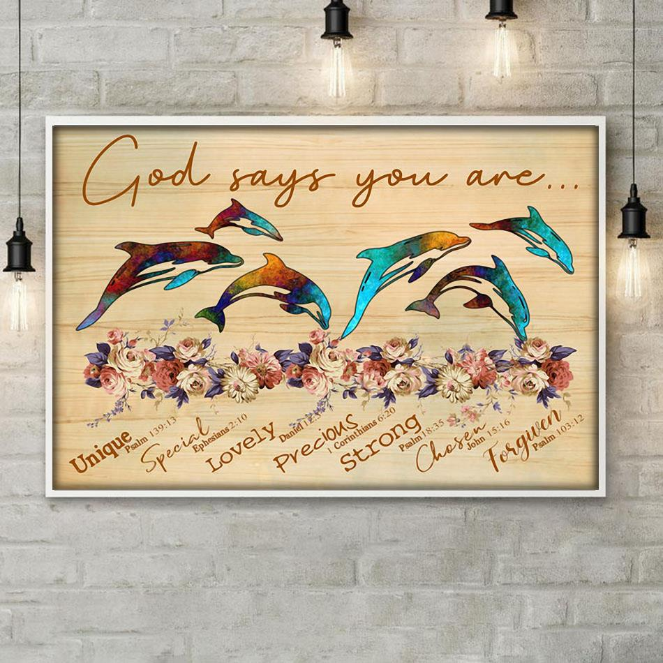 God says you are dolphin unique special lovely poster poster