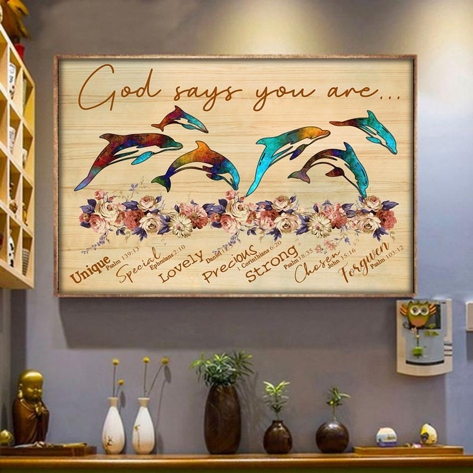 God says you are dolphin unique special lovely poster wrapped canvas