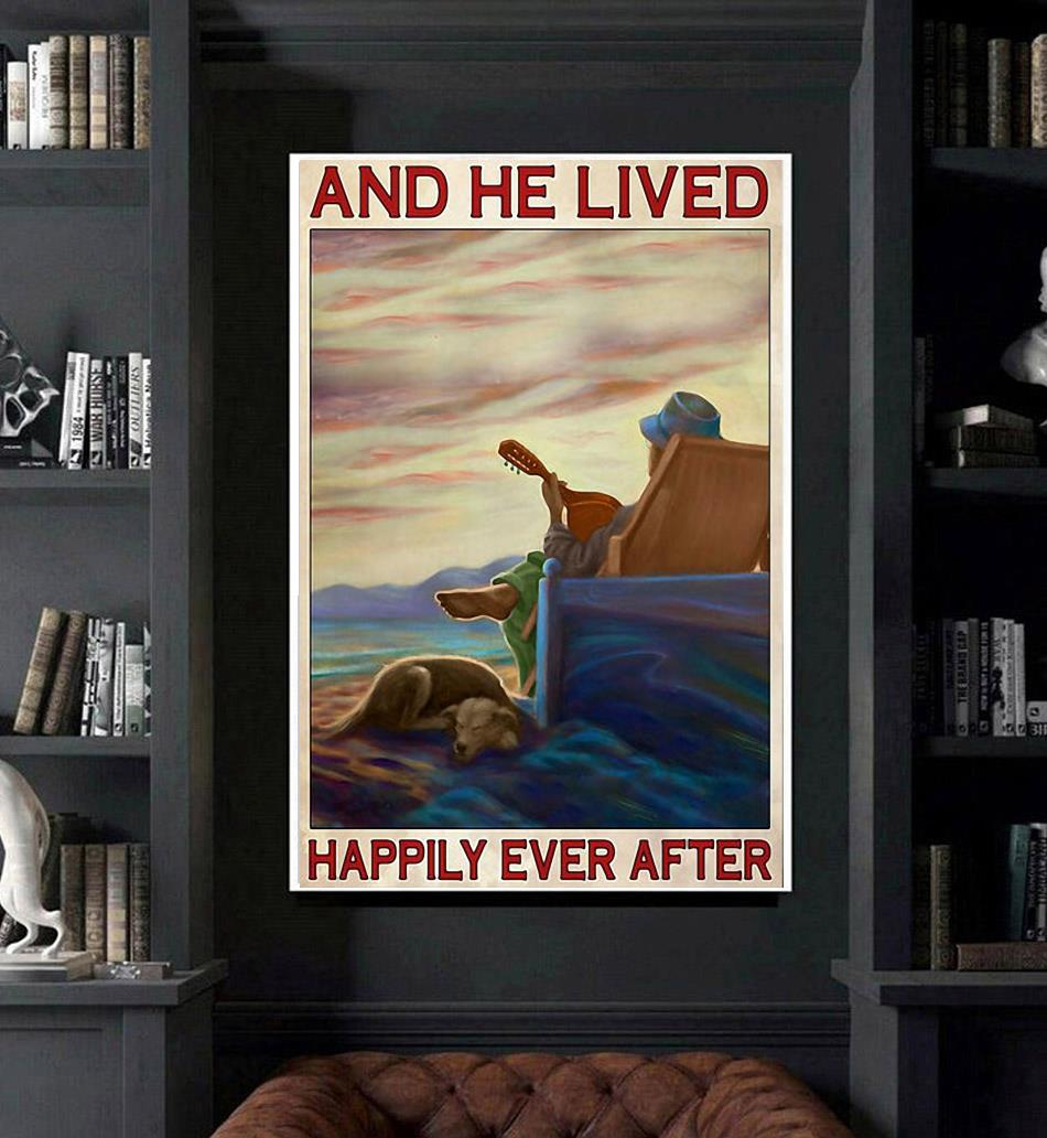 Guitar dog and he lived happily ever after poster art