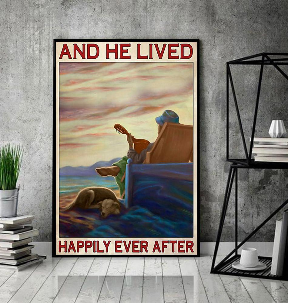 Guitar dog and he lived happily ever after poster decor