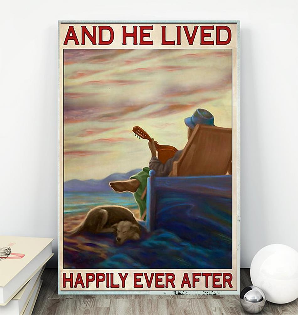 Guitar dog and he lived happily ever after poster wall