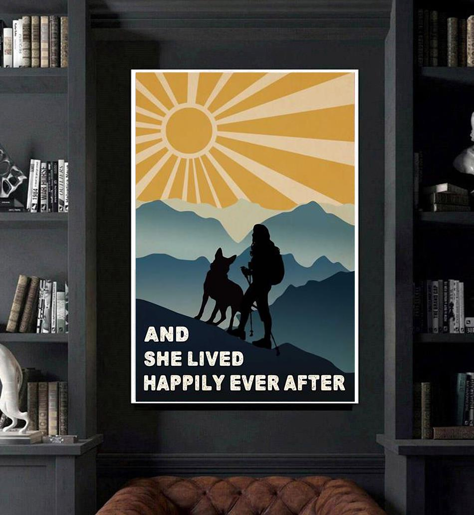 Hiking girl and she lived happily ever after poster canvas art