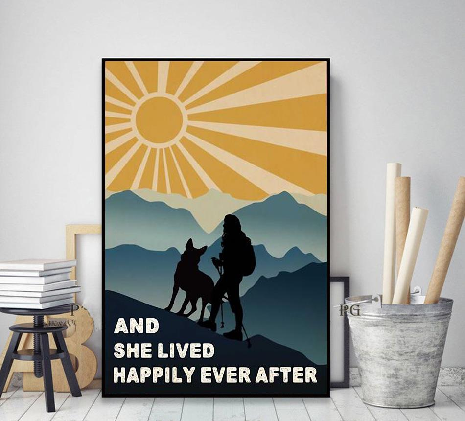 Hiking girl and she lived happily ever after poster canvas