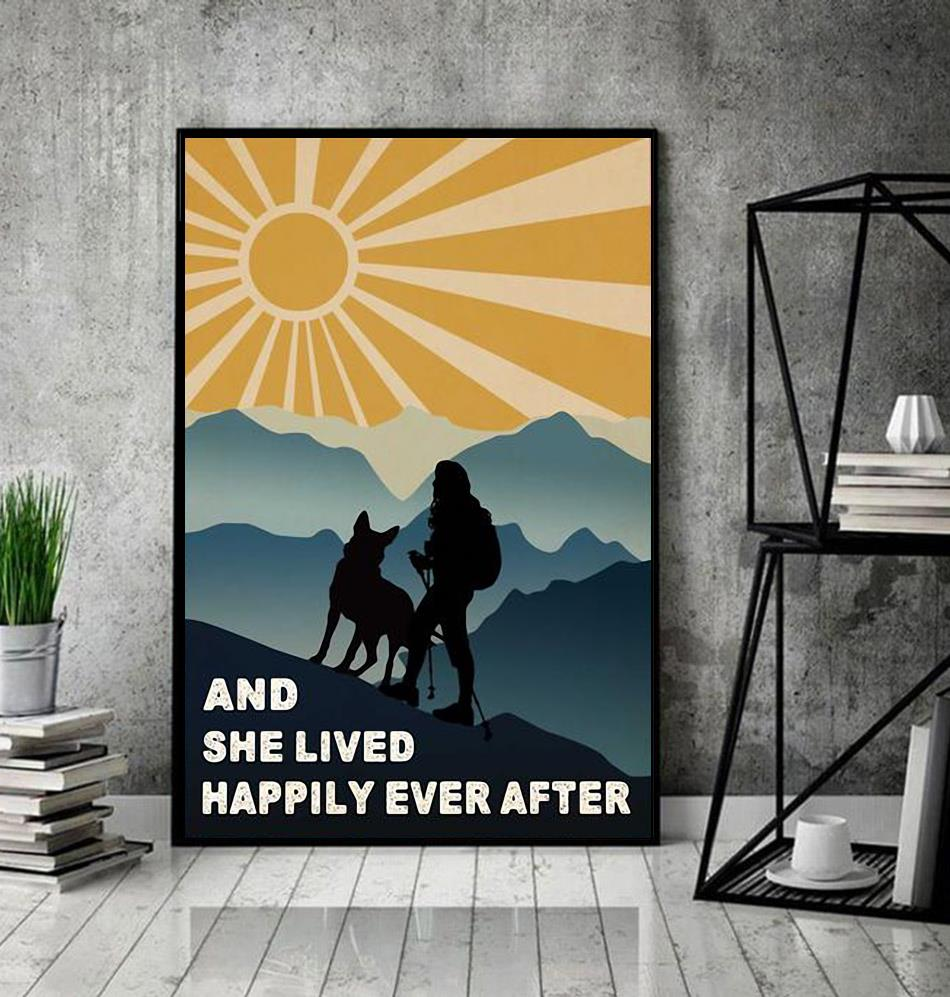 Hiking girl and she lived happily ever after poster canvas decor