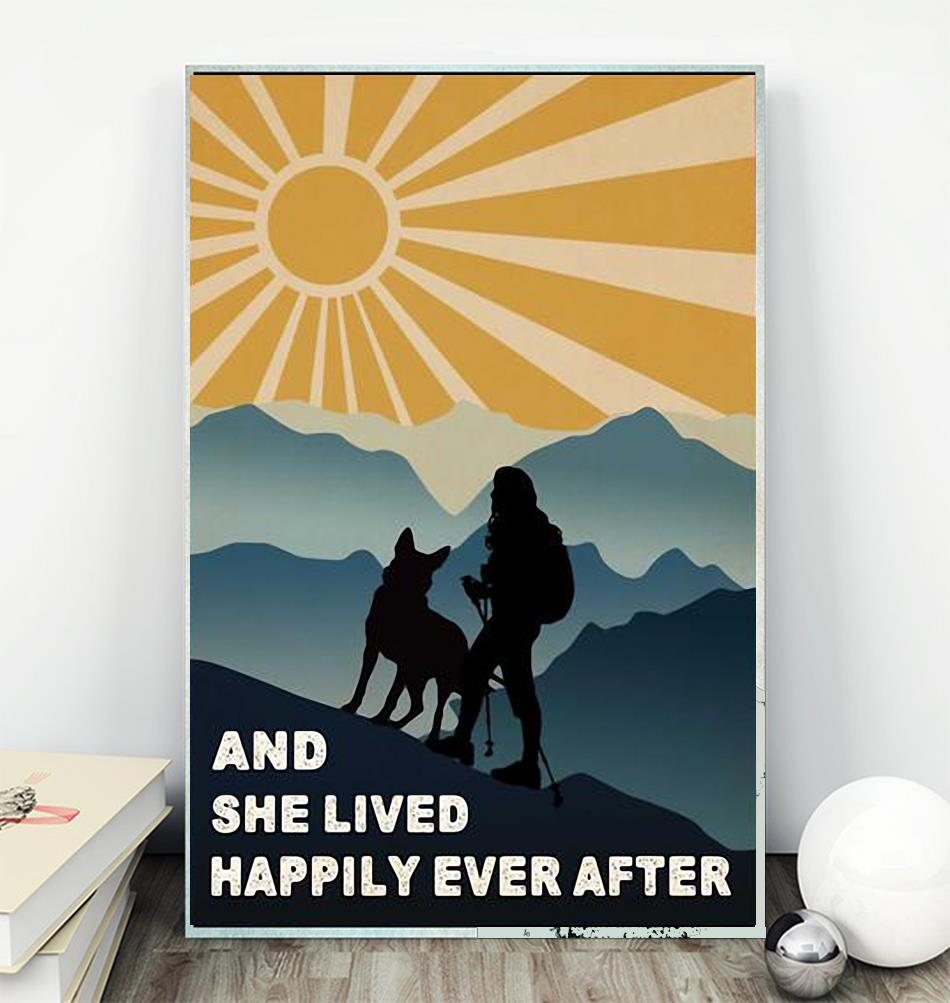 Hiking girl and she lived happily ever after poster canvas wall