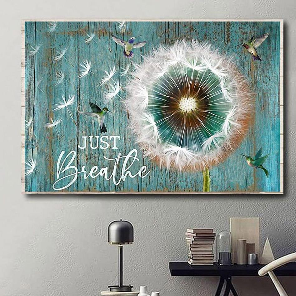 Hummingbird dandelion just breathe canvas