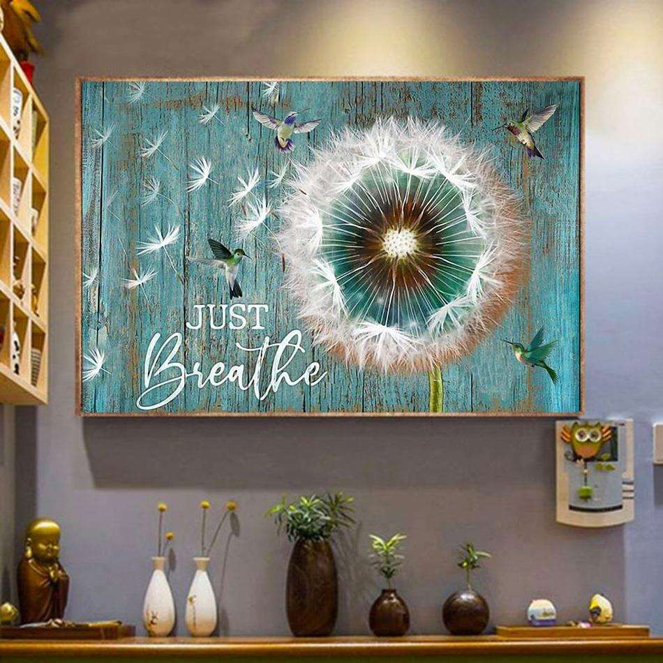 Hummingbird dandelion just breathe canvas wrapped canvas