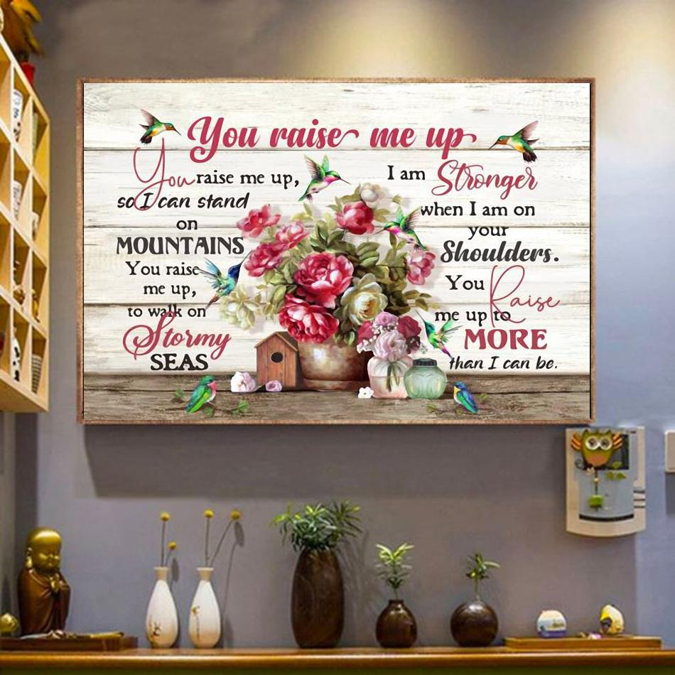 Hummingbird you raise me up flower poster wrapped canvas