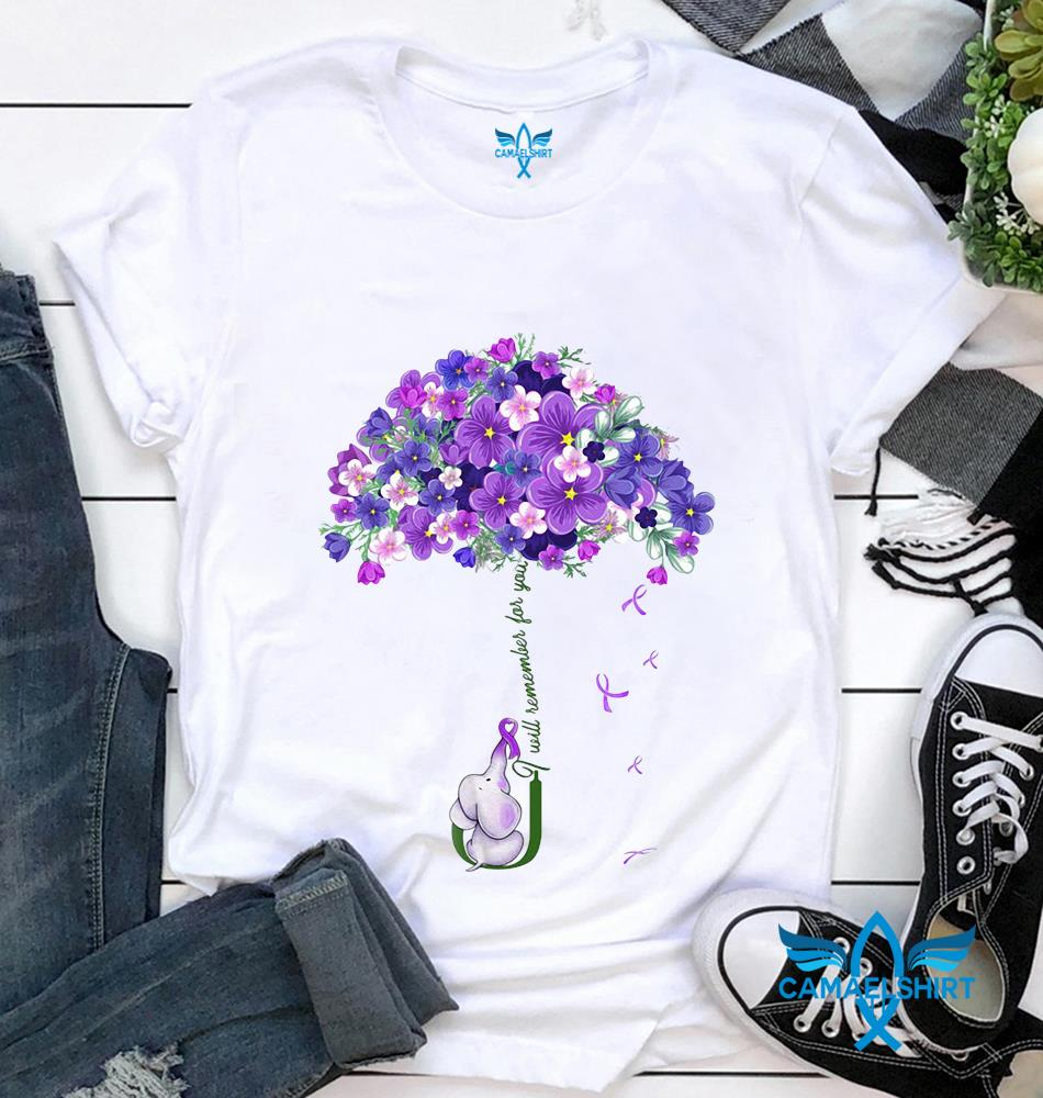I will remmember for you elephant alzheimer awareness t-shirt