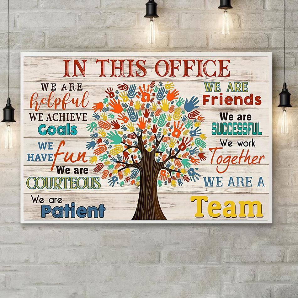 In This Office Social Worker Tree poster canvas poster